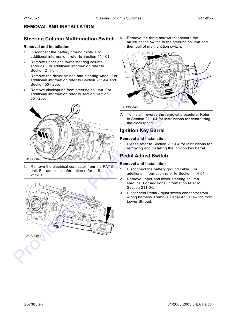 Au Wsm Page 1 Of 7 Steering Column Wiring Harness 211 05 Switches