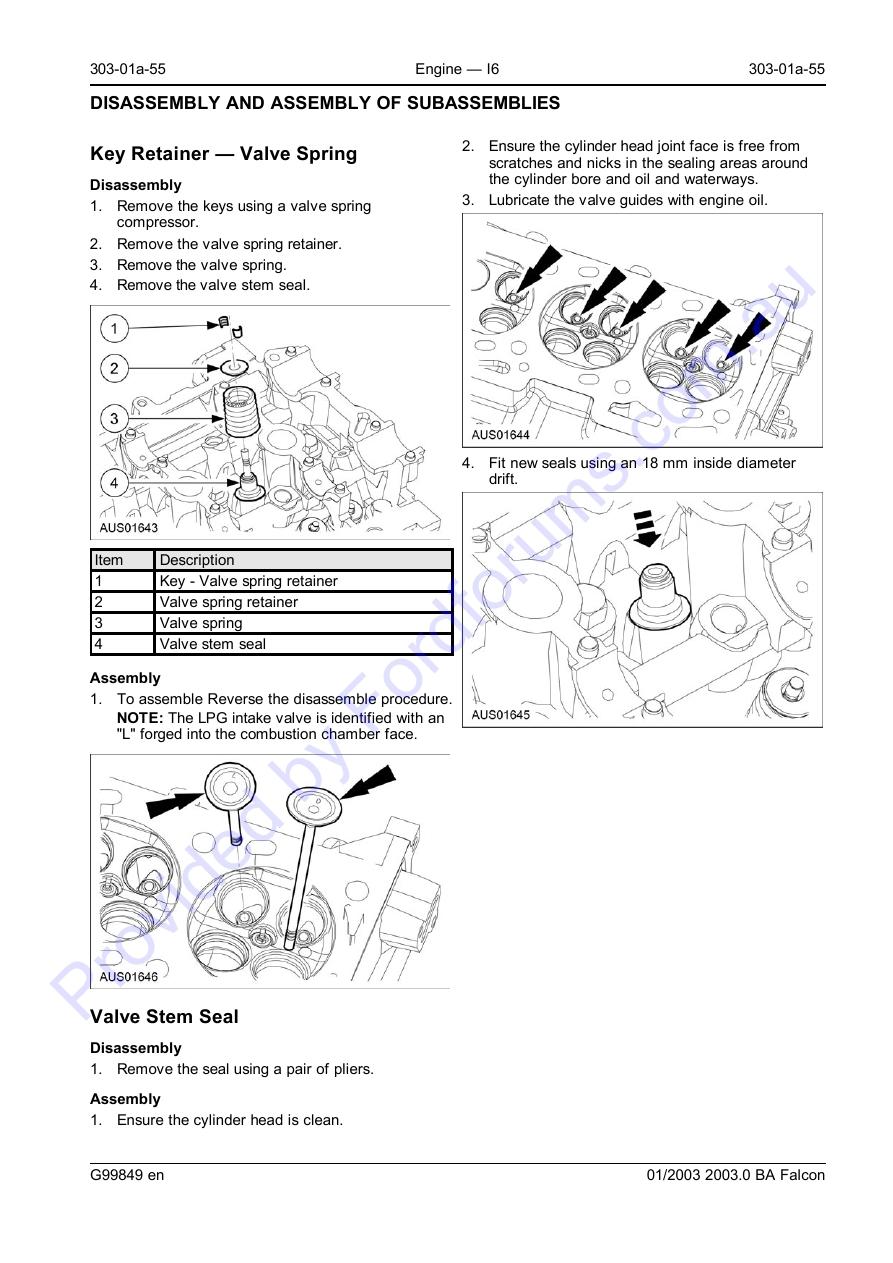 Au Wsm Page 1 Of 57 Engine Valve Guide Diagram 303 01a 55 I6